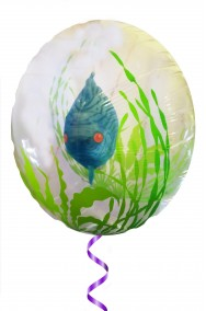 Acquario gonfiabile a palloncino a elio con alghe e pesce tropicale blu