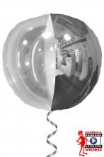 Palloncino gonfiabile a Palla anni 70 spicchi a specchio argento e trasparente
