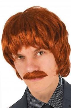 Parrucca e baffo uomo corta marrone