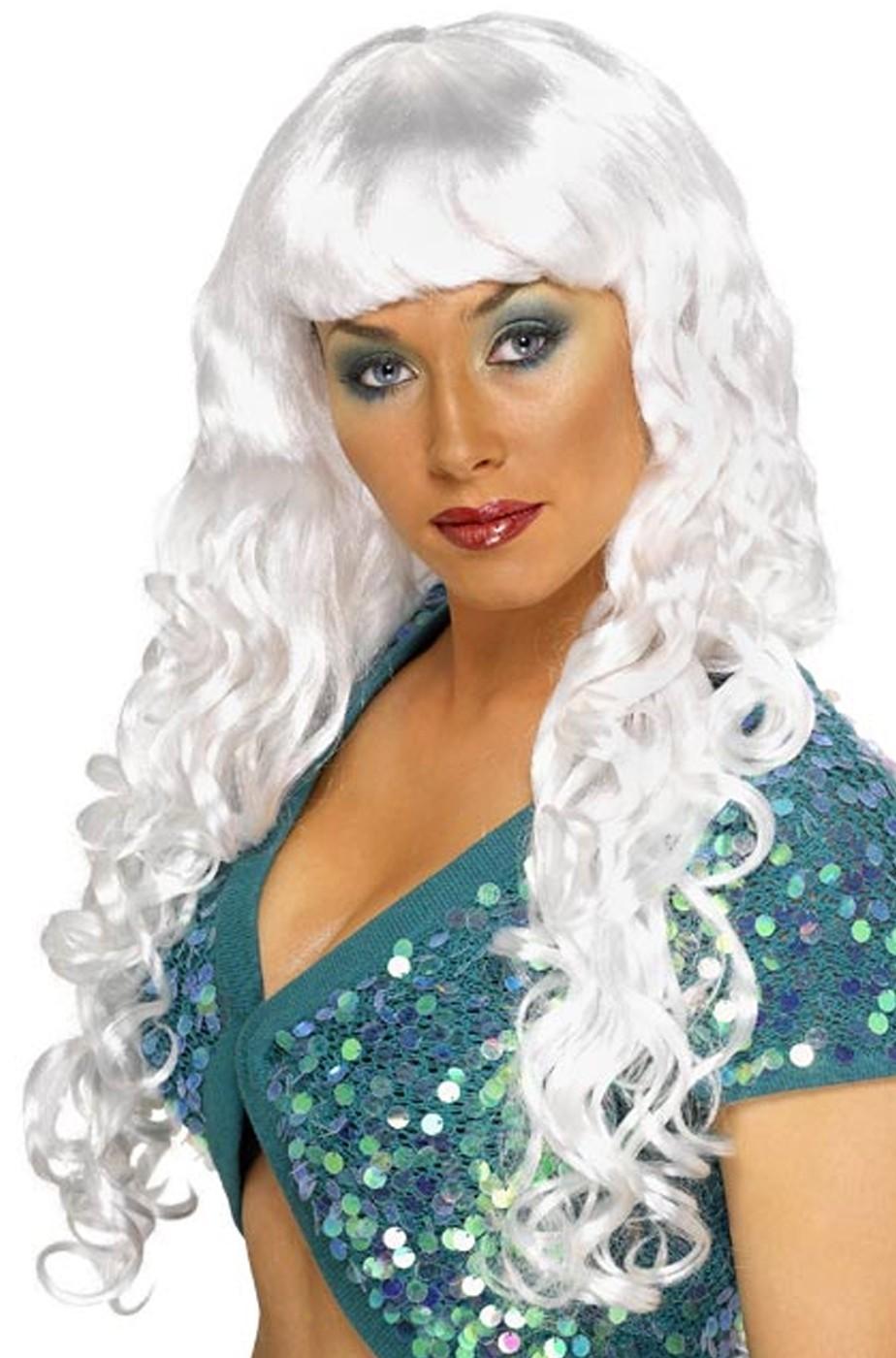 Parrucca donna bianca lunga con frangia mossa