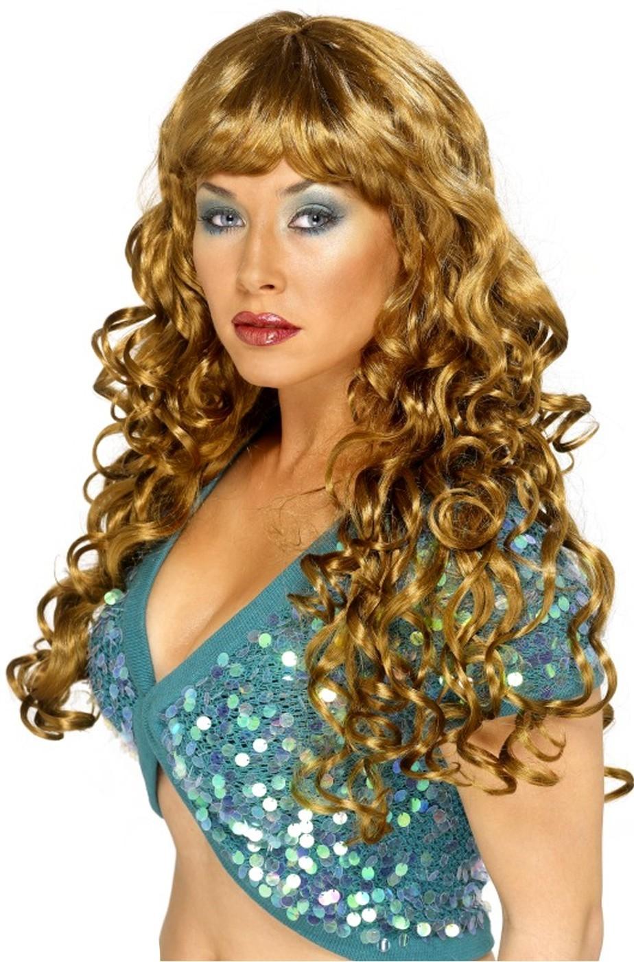 Parrucca donna castana Lunga mossa con frangia