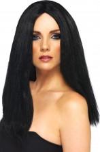 Parrucca donna lunga liscia nera perfetta per Morticia
