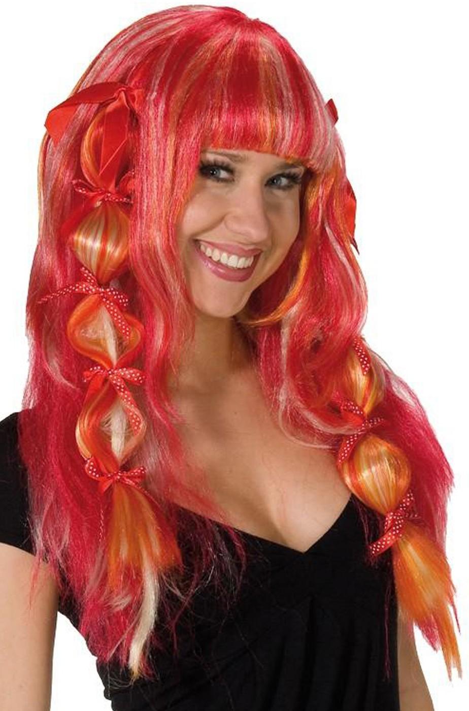 Parrucca donna lunga mossa rossa con inserti rosa e biondo cosplay manga anime