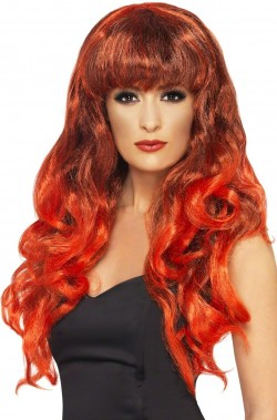 Parrucca donna lunga mossa rossa e nera sfumata