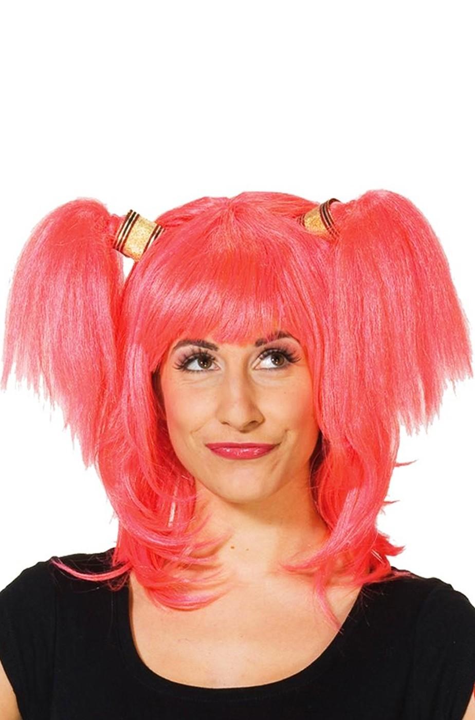 Parrucca donna lunga rosa con codini pony manga anime