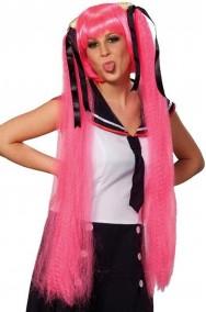 Parrucca donna lunga rosa lolita giapponese codini Manga anime