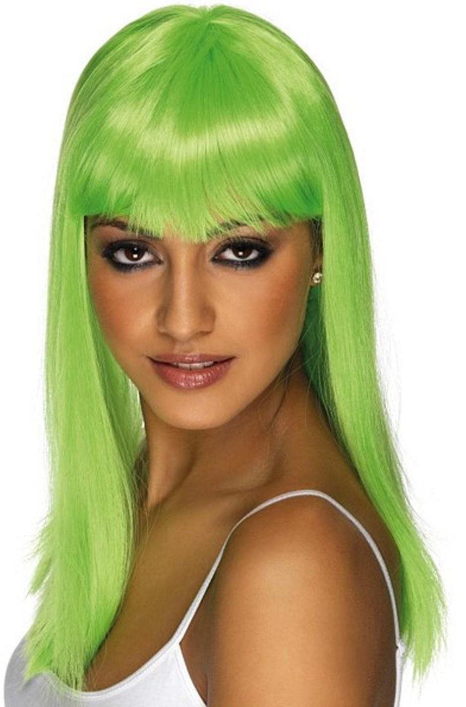 Parrucca donna lunga verde