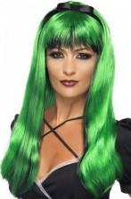 Parrucca donna lunga verde sopra nera sotto liscia
