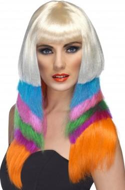 Parrucca donna multicolor lunga liscia anni 70