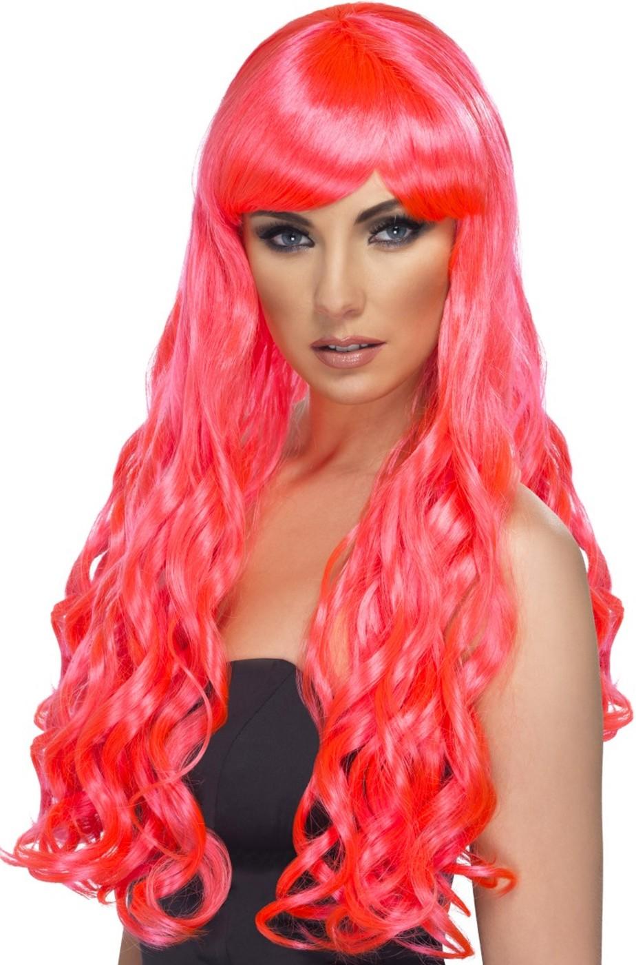 Parrucca donna rosa fucsia lunga mossa