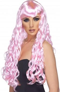 Parrucca donna rosa lunga mossa