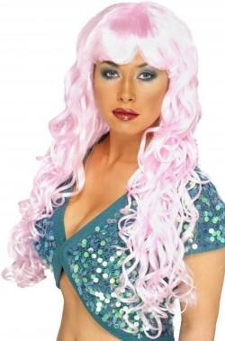 Parrucca donna rosa lunga mossa con frangia