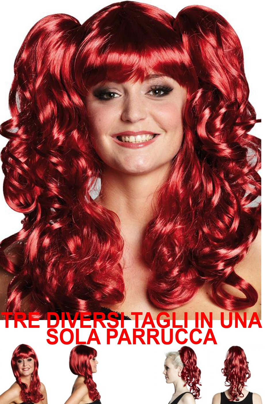 Parrucca donna rossa cosplay. con pony meches manga anime modificabile