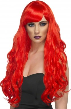 Parrucca donna rossa lunga mossa Con Frangia