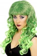 Parrucca donna verde Lunga mossa con frangia