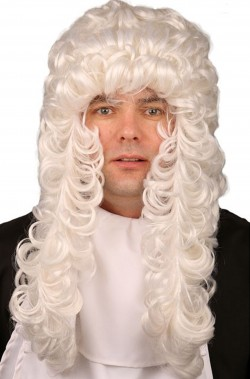 Parrucca bianca lunga da giudice storico inglese o americano riccia