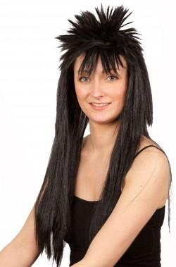 Parrucca nera lunga liscia anni 80 stile Wham