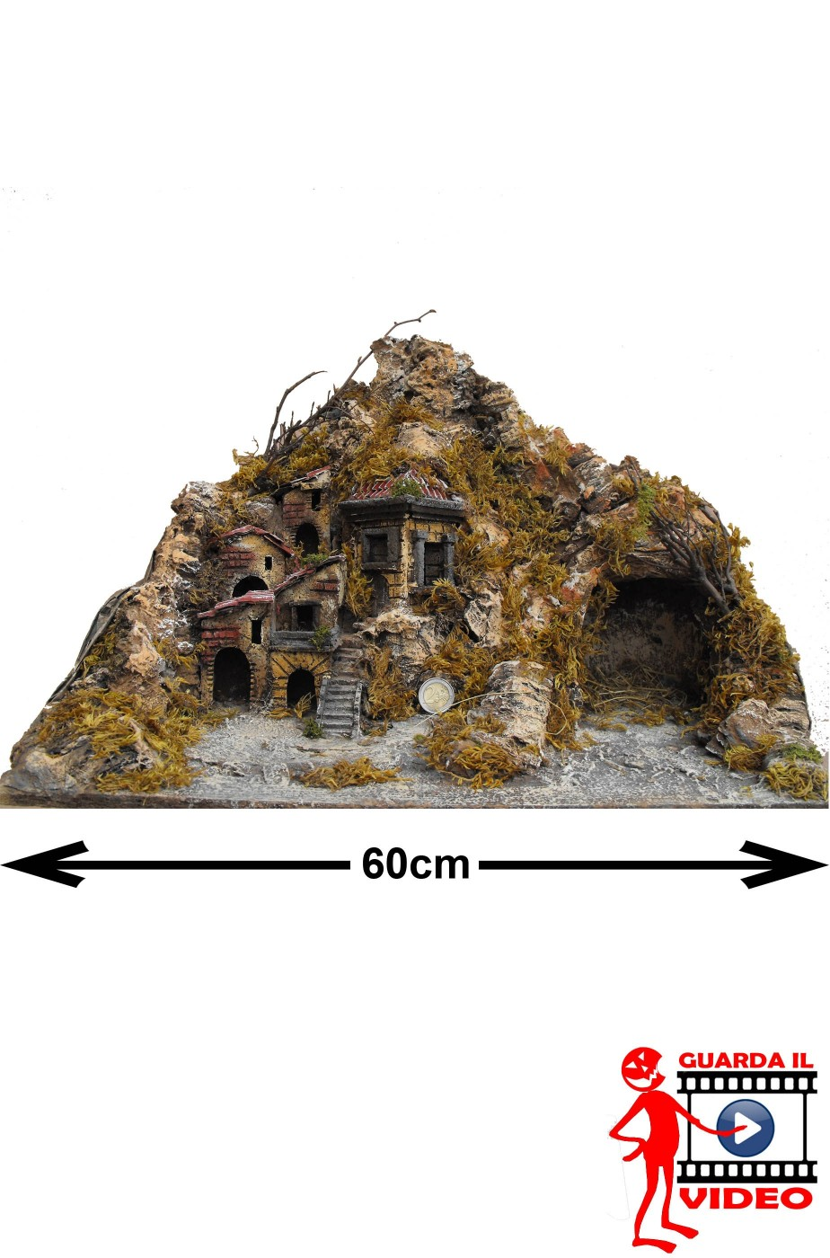 Base Presepe completa (senza statuine) naturale circa 60cmx30x28
