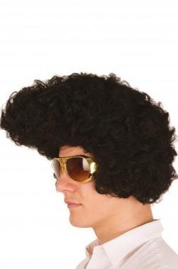 Parrucca uomo nera corta anni 50 Elvis Grease