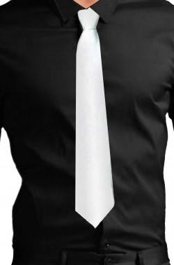 Cravatta finta con elastico in satin (lame') bianca