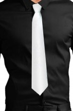 Cravatta finta con elastico bianca in satin (lame')