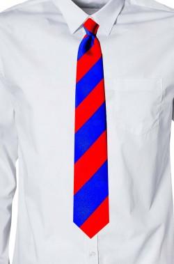 Cravatta scuola di magia a losanghe rosse e blu