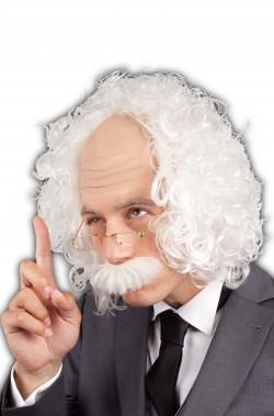 Set Parrucca Uomo Corta professore pazzo con baffo e occhiali
