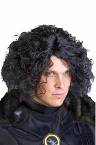 Parrucca uomo nera mossa senza frangia tipo Jon Snow emo