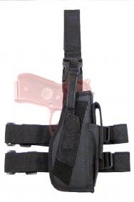 Fodero cosciale destro nero in cordura per militare Swat