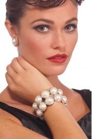 Braccialetto di perle finte grandi anni 20/30 per colazione da tiffany