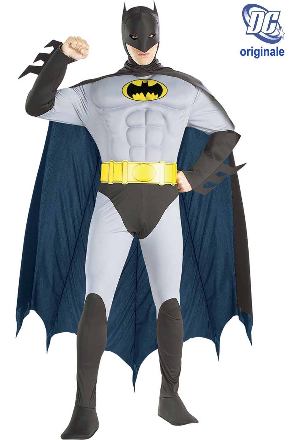 Costume Batman De Luxe Con Muscoli Adam West Grigio