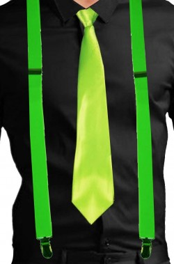 Set fluo bretelle e cravatta  fluo colore verde