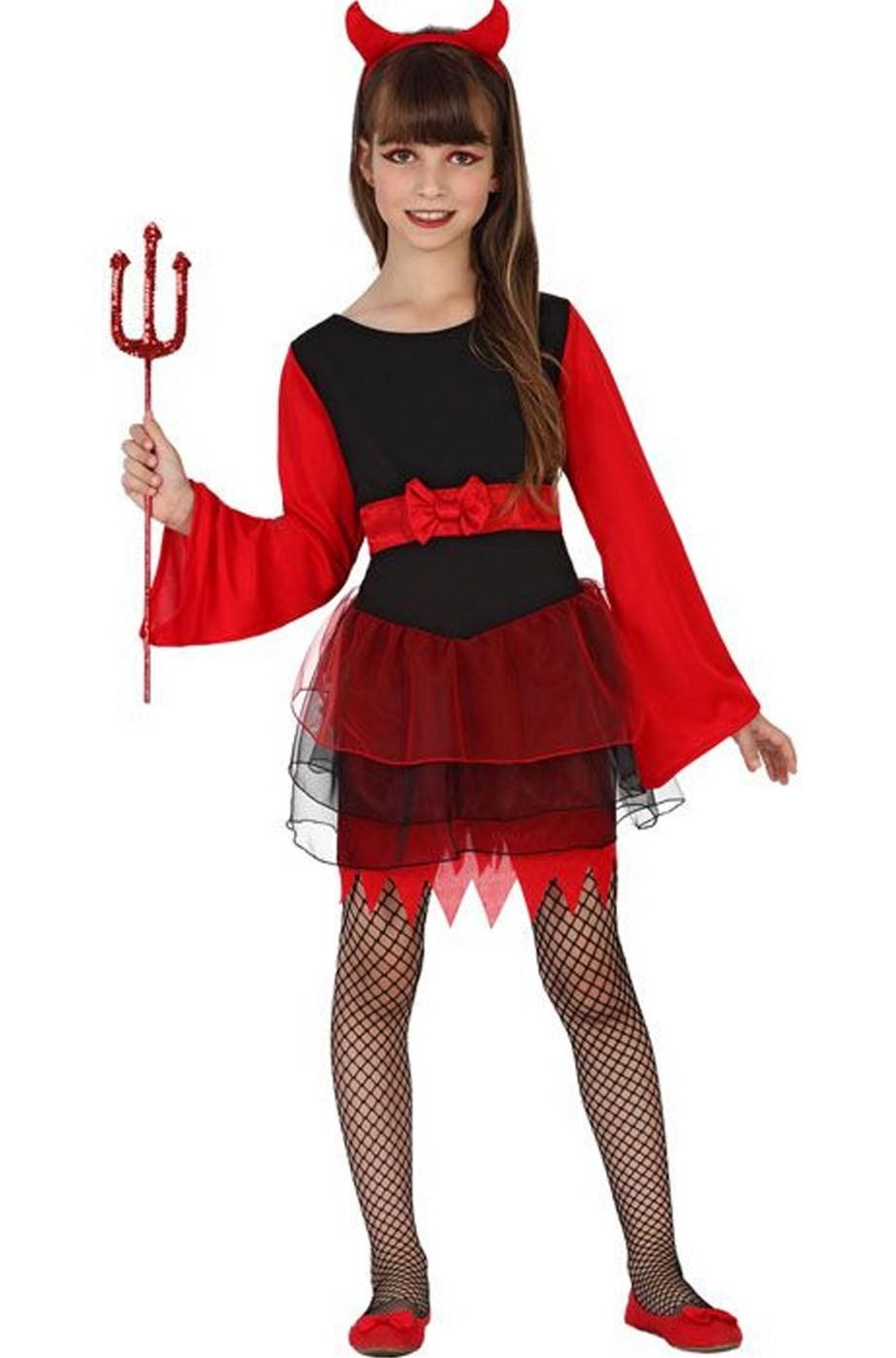 cerca le ultime nuovo arriva l'atteggiamento migliore Costume da diavola bambina diavoletta per Halloween rosso e nero