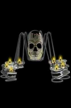 Allestimento decorazione Halloween candelabro centrotavola a forma di ragno con teschio centrale 35cm