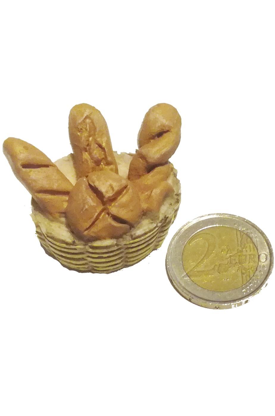Accessori presepe fruttivendolo:cestino con pane realizzato a mano