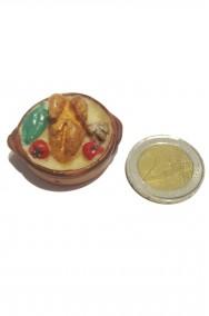 Accessori presepe: tegame con pollo e verdure