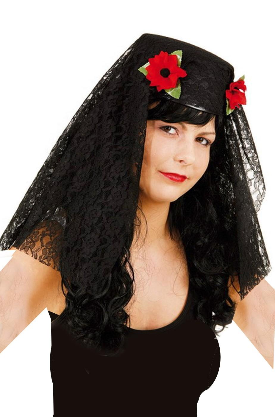 Cappello spagnola con velo di pizzo nero - CarnivalHalloween.com 8625a1870e27