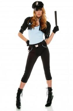 Costume donna Poliziotta americana nera azzurra con calzoncino