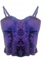 Corsetto viola scuro porpora con spalline da strega