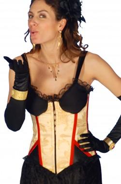 Corsetto burlesque oro e nero strega vampira