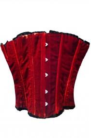 Corsetto color rosso cremisi in velluto con stecche