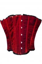 Corsetto color rosso cremisi in velluto con secche