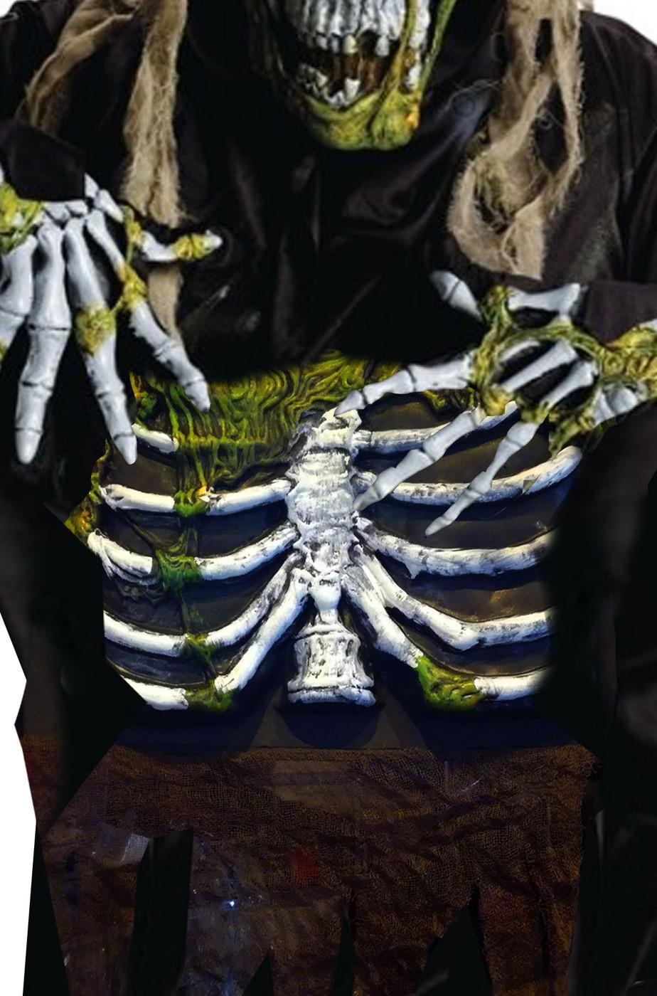 Pancia da zombie halloween in eva con scheletro verde