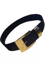 Cintura cinturone da pirata in cuoio nera con fibbia in metallo dorata