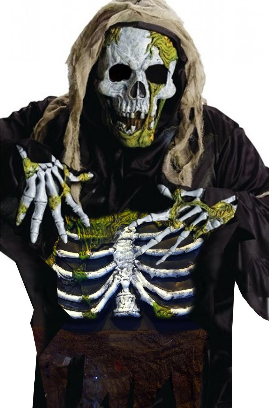 Costume zombie halloween Scheletro kit 4 prodotti