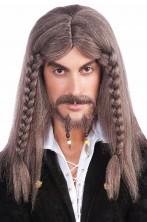 Parrucca uomo marrone lunga pirata