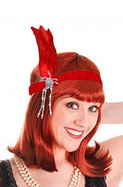 Fascia anni 20 rossa con piuma flapper charleston