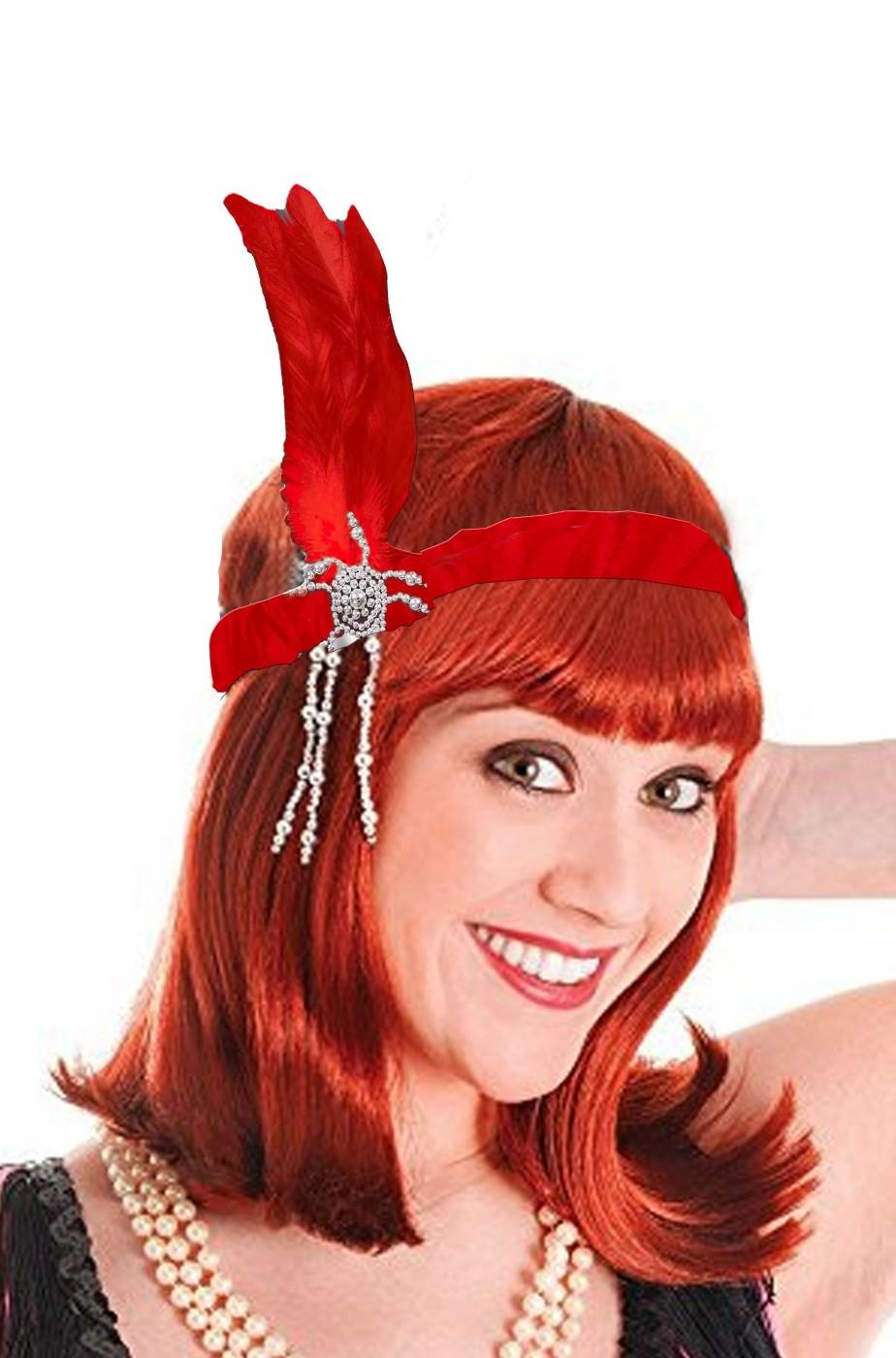 Fascia anni 20 rossa con piuma flapper