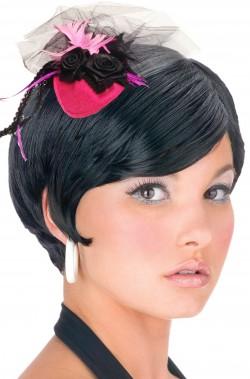 Mini cappello burlesque vittoriano 800 con clip rosa