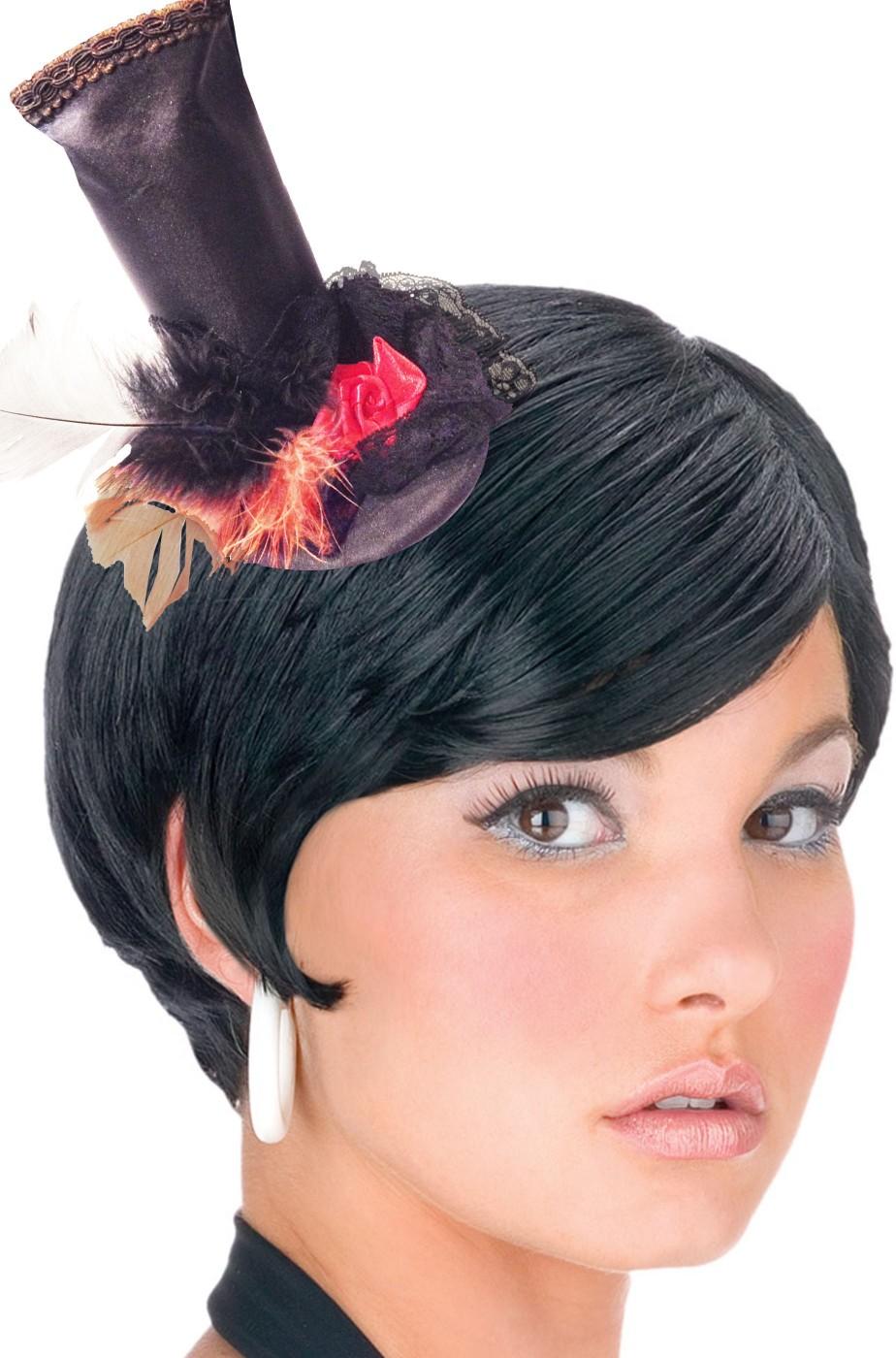 Cappello mini cappellino vittoriano a cilindro con rose 38cd0cfd294d